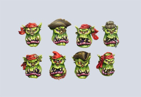 Pirate Orc Boys Heads (10) - Click Image to Close